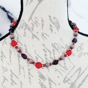 Red Plastic Beaded Necklace